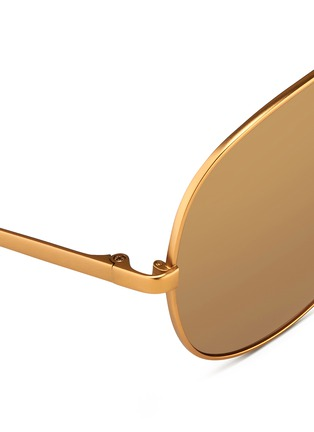 Detail View - Click To Enlarge - Linda Farrow - Matte titanium oversize aviator mirror sunglasses