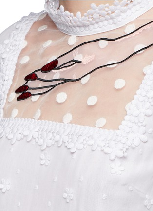 Detail View - Click To Enlarge - Giamba - Hand embroidery floral guipure lace dress