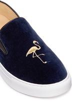 'TriBeCa' flamingo embroidery velvet skate slip-ons