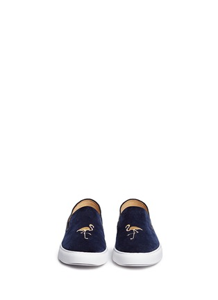 Figure View - Click To Enlarge - Bing Xu - 'TriBeCa' flamingo embroidery velvet skate slip-ons