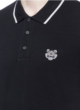 Detail View - Click To Enlarge - KENZO - Tiger patch stripe polo shirt