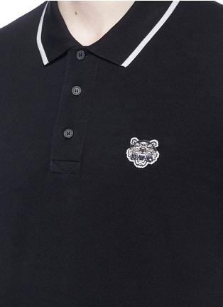 KENZO-Tiger patch stripe polo shirt