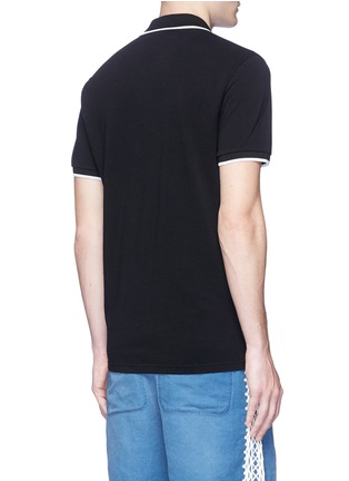 Back View - Click To Enlarge - KENZO - Tiger patch stripe polo shirt