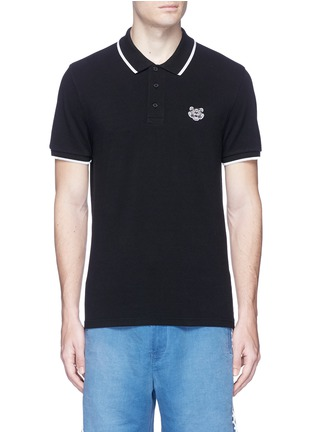 Main View - Click To Enlarge - KENZO - Tiger patch stripe polo shirt