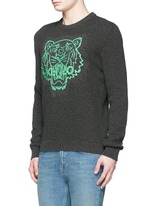 Rubber tiger head print sweater