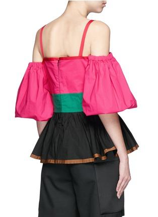 ISA ARFEN-Colourblock off-shoulder peplum top
