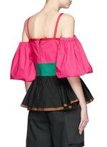 Colourblock off-shoulder peplum top