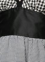 Mixed gingham check off-shoulder peplum top