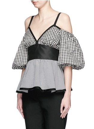 Front View - Click To Enlarge - ISA ARFEN - Mixed gingham check off-shoulder peplum top