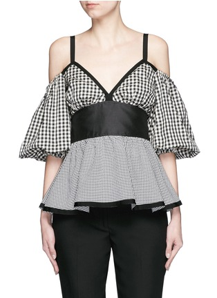 Main View - Click To Enlarge - ISA ARFEN - Mixed gingham check off-shoulder peplum top