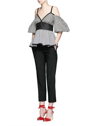 Figure View - Click To Enlarge - ISA ARFEN - Mixed gingham check off-shoulder peplum top