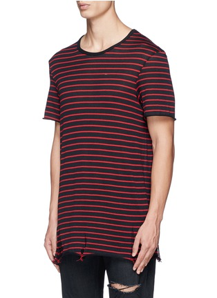 Amiri - Stripe distressed cotton-cashmere T-shirt
