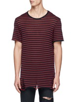 Stripe distressed cotton-cashmere T-shirt