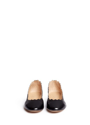 Front View - Click To Enlarge - Chloé - 'Lauren' scalloped edge leather flats