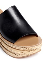 Cork wedge leather mule sandals