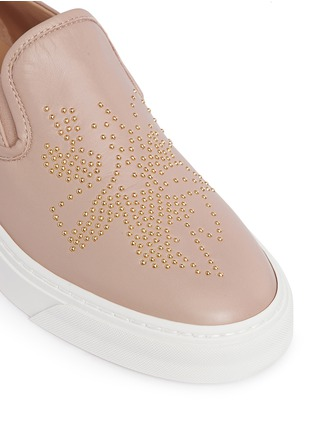 Detail View - Click To Enlarge - Chloé - Floral stud leather skate slip-ons