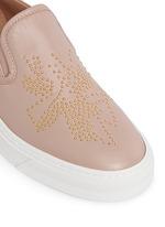 Floral stud leather skate slip-ons