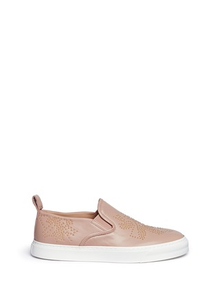 Main View - Click To Enlarge - Chloé - Floral stud leather skate slip-ons