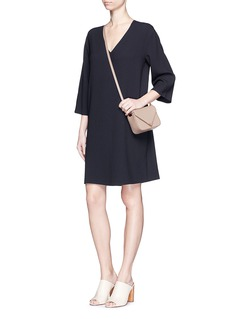 VINCE Textured crepe V-neck dress