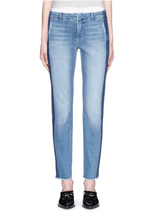 Detail View - Click To Enlarge - Vince - Contrast side strapping cotton jeans