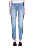 Contrast side strapping cotton jeans