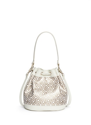 Back View - Click To Enlarge - Mischa - 'Mini Bucket Bag' in classic hexagon print