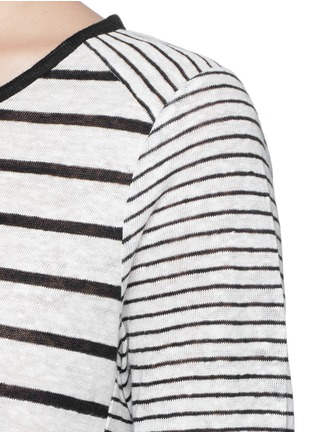 Detail View - Click To Enlarge - Vince - Variegated stripe linen long sleeve sweater