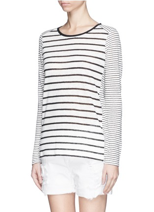 Front View - Click To Enlarge - Vince - Variegated stripe linen long sleeve sweater