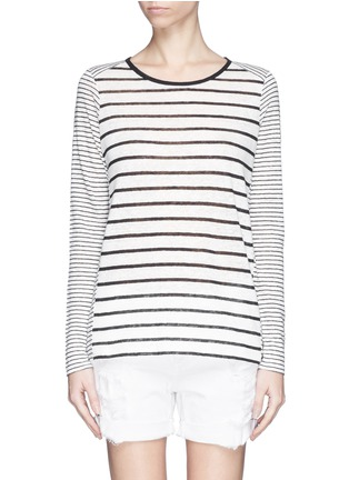 Main View - Click To Enlarge - Vince - Variegated stripe linen long sleeve sweater