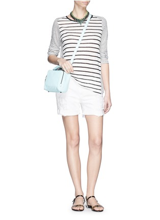 Figure View - Click To Enlarge - Vince - Variegated stripe linen long sleeve sweater