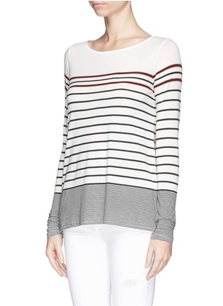 Front View - Click To Enlarge - Vince - Variegated Breton stripe T-shirt