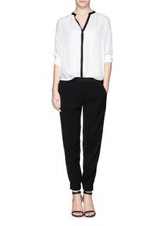 VINCEContrast trim silk blouse
