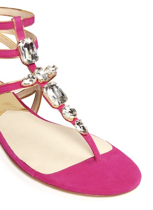 Detail View - Click To Enlarge - Michael Kors - 'Jayden' suede ankle strap leather sandals