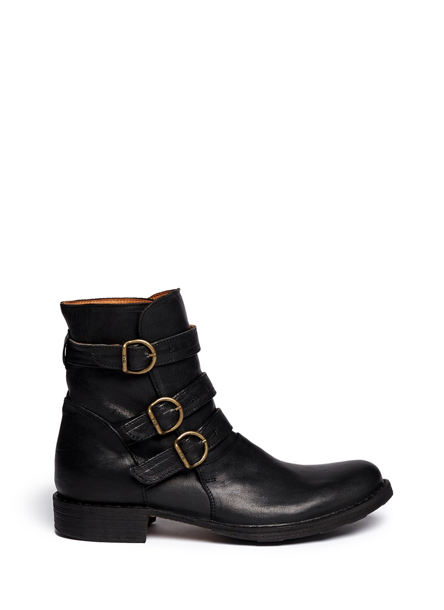 fiorentini baker 39 edwin 39 eternity leather buckle leather boots on sale black ankle boots. Black Bedroom Furniture Sets. Home Design Ideas