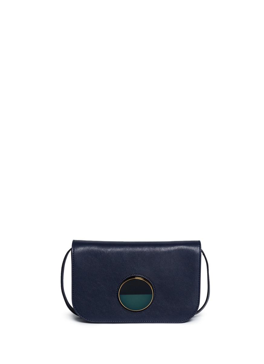Pois small resin slide lock leather crossbody bag by Marni