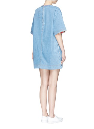 Back View - Click To Enlarge - Marc Jacobs - Patchwork pocket denim T-shirt dress