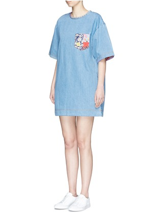 Front View - Click To Enlarge - Marc Jacobs - Patchwork pocket denim T-shirt dress