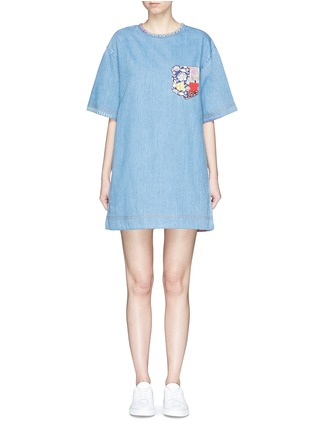 Main View - Click To Enlarge - Marc Jacobs - Patchwork pocket denim T-shirt dress