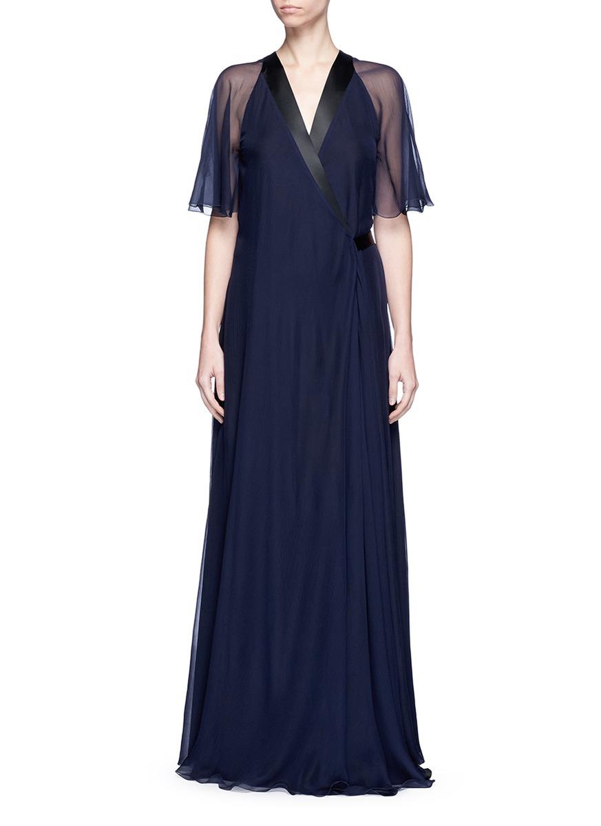 Satin trim silk chiffon wrap gown by Lanvin