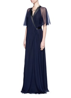 Lanvin Satin trim silk chiffon wrap gown