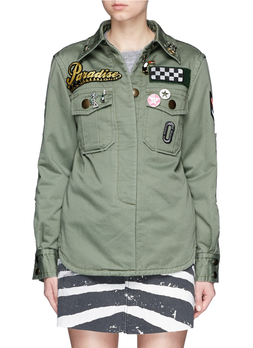 Embellished enzyme wash padded military shirt by Marc Jacobs