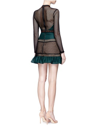 Back View - Click To Enlarge - self-portrait - 'Forest' mixed fishnet mini dress