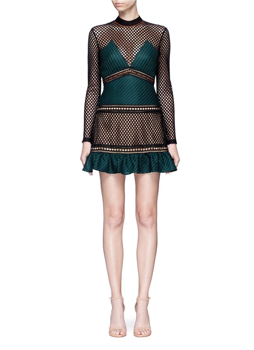 Forest mixed fishnet mini dress by self-portrait