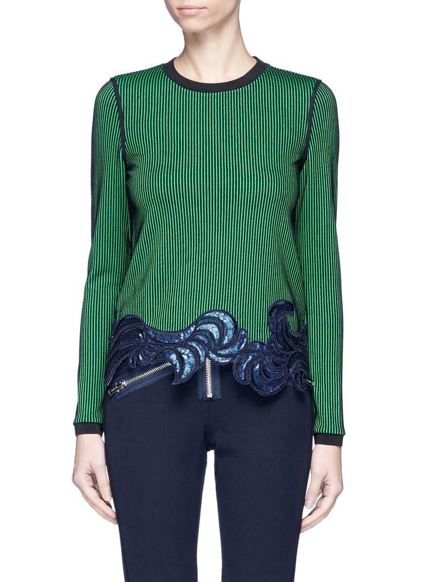 Floral sequin embroidered ottoman knit top by 3.1 Phillip Lim