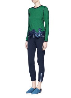 3.1 Phillip LimFloral sequin embroidered ottoman knit top