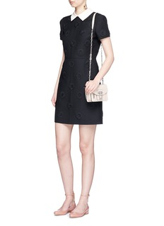 ValentinoDetachable collar daisy appliqué Crepe Couture dress