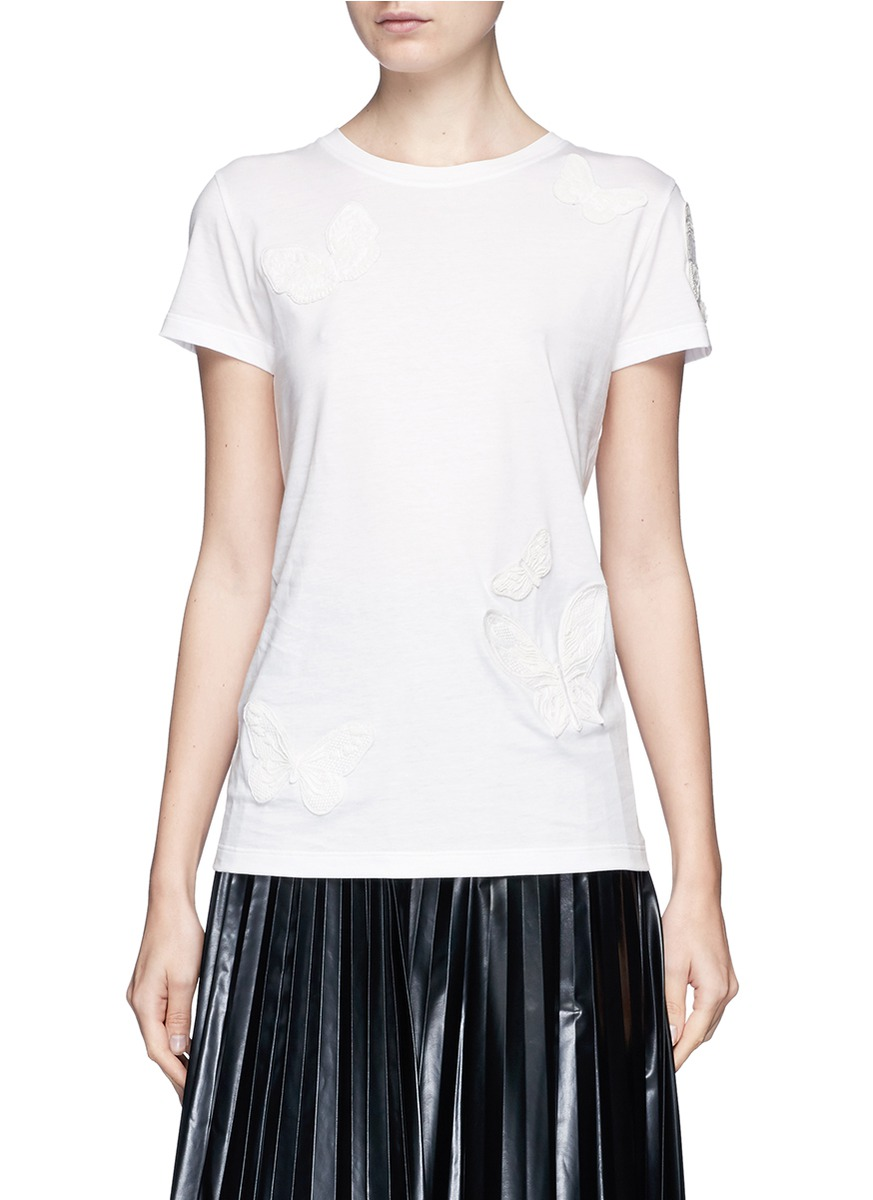 Beaded butterfly appliqué cotton T-shirt by Valentino