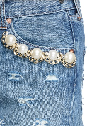 Detail View - Click To Enlarge - Forte Couture - 'Kalifornia' embellished ripped denim overalls