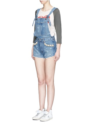 Front View - Click To Enlarge - Forte Couture - 'Kalifornia' embellished ripped denim overalls