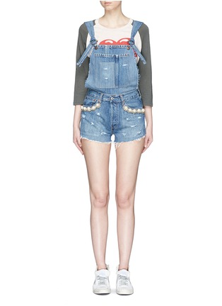 Main View - Click To Enlarge - Forte Couture - 'Kalifornia' embellished ripped denim overalls